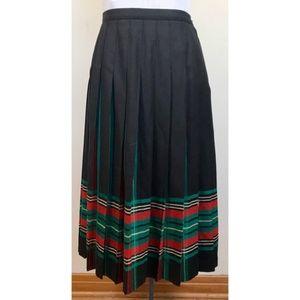 Vintage Pendleton Black Plaid Pleated Midi Skirt
